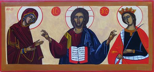 Le Christ avec la Vierge Marie et sainte Catherine